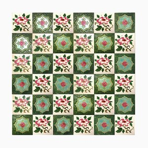 Mixed Glazed Rose Tiles by S.A. Produits Ceramiques De La Dyle, 1930s