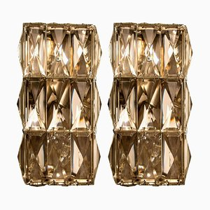 Palwa Wall Light Fixtures in Chrome-Plated Crystal Glass, 1970s, Set of 2