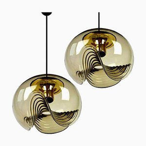 Smoked Glass Light Fixtures from Koch & Lowy, 1970, Set of 2