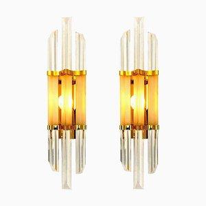 Murano Glas und Messing Wandlampen im Venini Stil, Italien, Set of 2