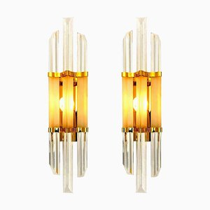 Venini Style Murano Glass and Brass Sconces, Italy, Set of 2