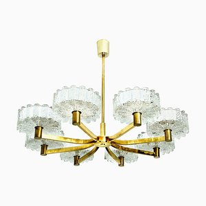 Large Brass Chandelier with 8 Icicle Glass Shades from Doria, 1960s