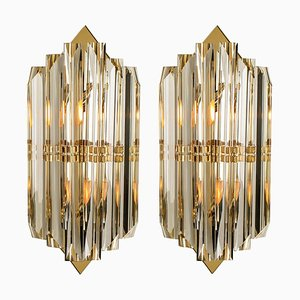 Venini Style Murano Glass and Gilt Brass Sconces, Italy, Set of 2