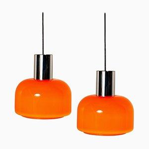 Orange Geblasene Hängelampen von Peill & Putzler, 1970er, 2er Set