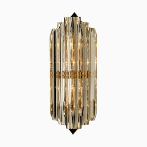 Large Venini Style Murano Glass and Gilt Brass Sconce, Italy