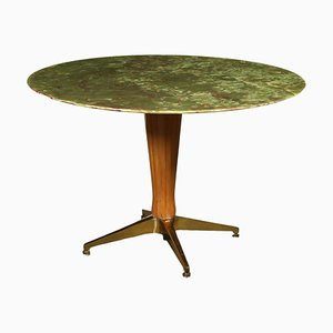 Table in Stained Beech, Brass & Onyx, Italy, 1950s