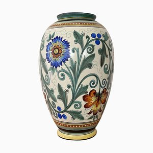 Large Art Ceramic Flower Pattern Vase from Gouda, 1930s