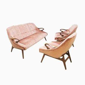 Mobilier de Salon Mid-Century en Velours Rose, Danemark, Set de 2