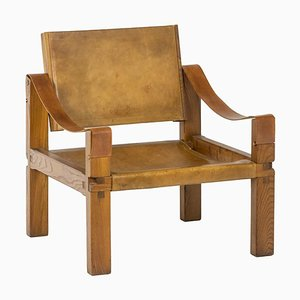 Lounge Chair in Leather and Elm by Pierre Chapo, 1960s
