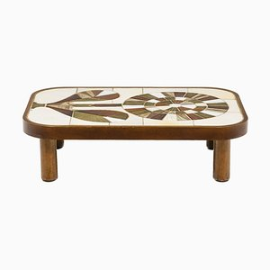 Coffee Table in Wood and Ceramics by Roger Capron, 1960s