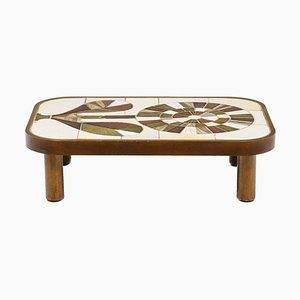 Tavolino da caffè in legno e ceramica di Roger Capron, anni '60