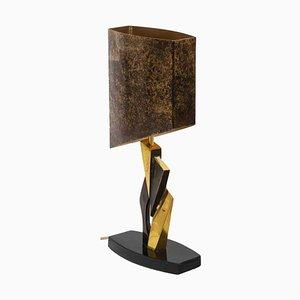Lampada in bronzo dorato e metallo, anni '70