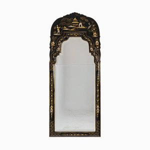 Chippendale Style Mirror in Black Lacquer, 1950s