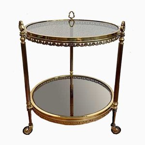 Round Brass Bar Cart on Wheels