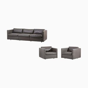 Sofa Set in Grey Leather by Charles Pfister for Knoll, USA, 1970s, Set of 3