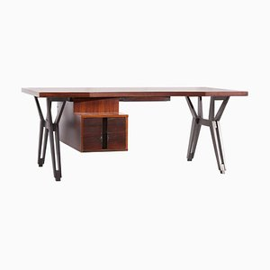 Mahogany Executive Office Desk by Ico Parisi for Mim, Italy, 1950s