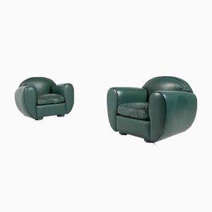 Sillones estilo Art Déco de cuero verde, años 60