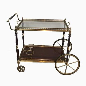 Neoclassical Style French Brass and Mahogany Drinks Trolley from Maison Bagués, 1940s