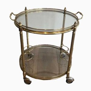 Round Neoclassical Style French Brass Drinks Trolley from Maison Jansen, 1940s