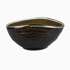 Frosted Black Murano Glass Bowl, 1960s