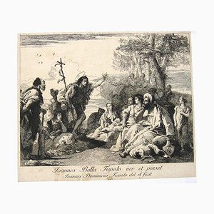 Giovanni Domenico Tiepolo - The Preaching of St. John the Baptist - Etching by Tiepolo - 18th Century