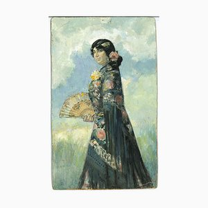 Gabriele Galantara - The Spanish - Ink, Tempera and Watercolor Drawing - 1910s