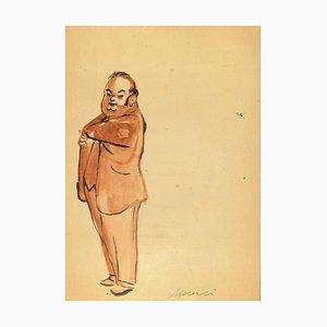 Mino Maccari - Man with Hand in Pocket - Watercolor - 1960s
