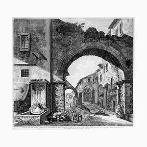Luigi Rossini - Blick auf Tivoli gemischt aus Antike und Moderne (...) - Radierung - 1824