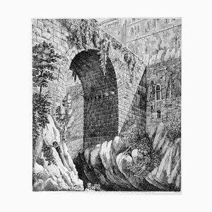 Luigi Rossini - Blick auf die Antike Brücke ... - Radierung - 1825