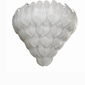 Italienischer Kronleuchter aus Geätztem Muranoglas