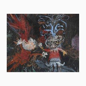 Sergio Barletta - Fire Eater - Watercolor and Tempera - 1970s