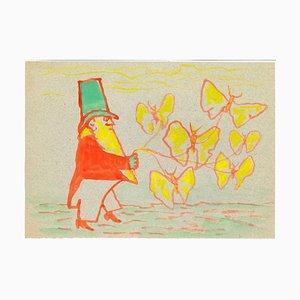 Mino Maccari - Tamer of Butterflies - Watercolor - Mid-20th-Century
