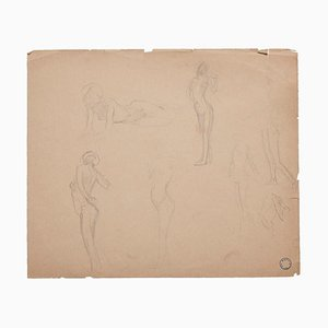 Charles Lucien Moulin - Figures of Women - Pencil Drawing - Early 20th-Century
