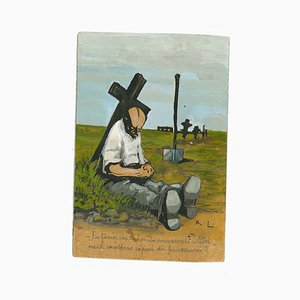 Gabriele Galantara - Lucky to Be Dead - Tinte, Tempera und Aquarell Zeichnung - 1910