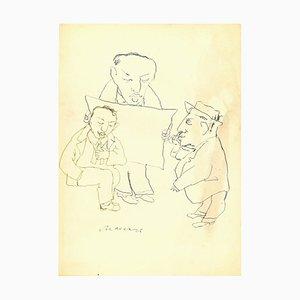 Mino Maccari - Otium - China Ink Drawing - 1960s