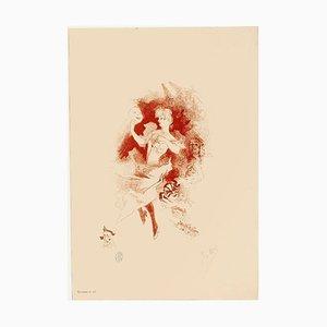 Jules Chéret - Mädchen mit Maske - Lithographie - 1890er