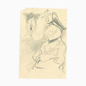 Mino Maccari - Thinking about the Origin - Pencil Drawing - 1960s