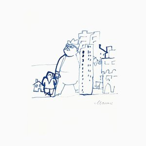 Mino Maccari - Urbanization - Watercolor Drawing - 1970s