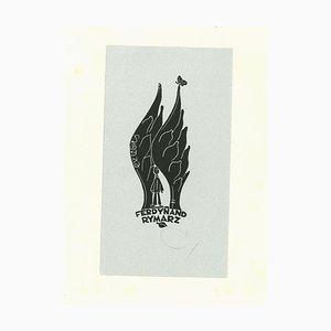 Ex Libris Rymarz - Holzschnitt-Druck - Mitte des 20. Jahrhunderts