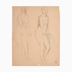 Charles Lucien Moulin - Figures of Women - Pencil - Early 20th-Century