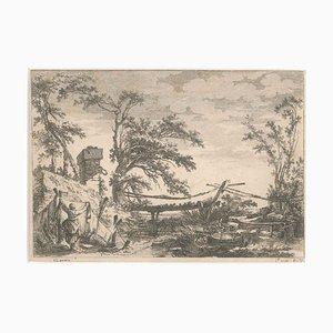 Jean-Claude Richard De Saint-Non - Landschaft mit Brücke - Radierung - 18. Jahrhundert