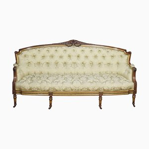 19th-Century Carved Walnut and Parcel Gilt Sofa