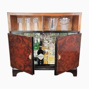 Mueble bar o armario italiano Art Déco Mid-Century Regency de nogal, raíz y madera nudosa, años 50