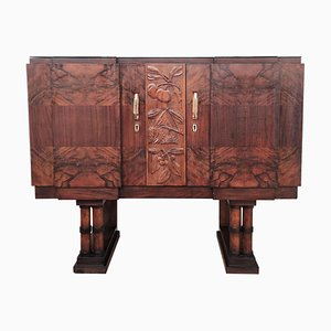 Art Deco Mid-Century Regency Italian Walnut Burl Dry Bar or Cabinet, 1930s