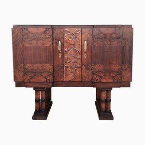 Mueble bar o armario italiano Art Déco Mid-Century Regency de nogal nudoso, años 30