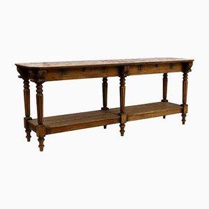 Table en Drapeaux Gravé en Chêne