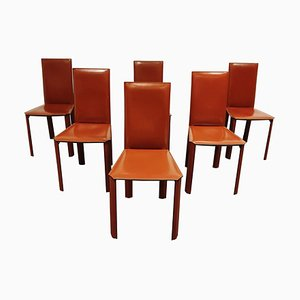 Red Leather Dining Chairs from De Couro Brazil, 1980s, Set of 6