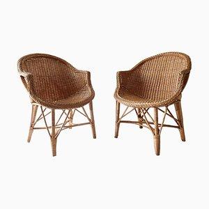Rattan Stühle, 1960er, 2er Set