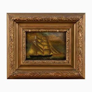 Henry King Taylor – Ship at Sea - Oil on Copper