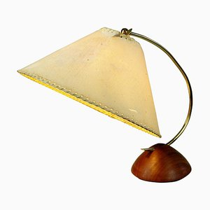 Scandinavian Modern Teak and Brass Table Lamp with Paper Lampshade